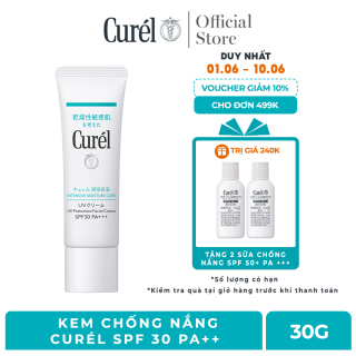 (6.6 Tặng 2 chống nắng Curel 28ml) Kem Chống Nắng Curel UV Protection Face Cream SPF 30 PA++ 30g thumbnail