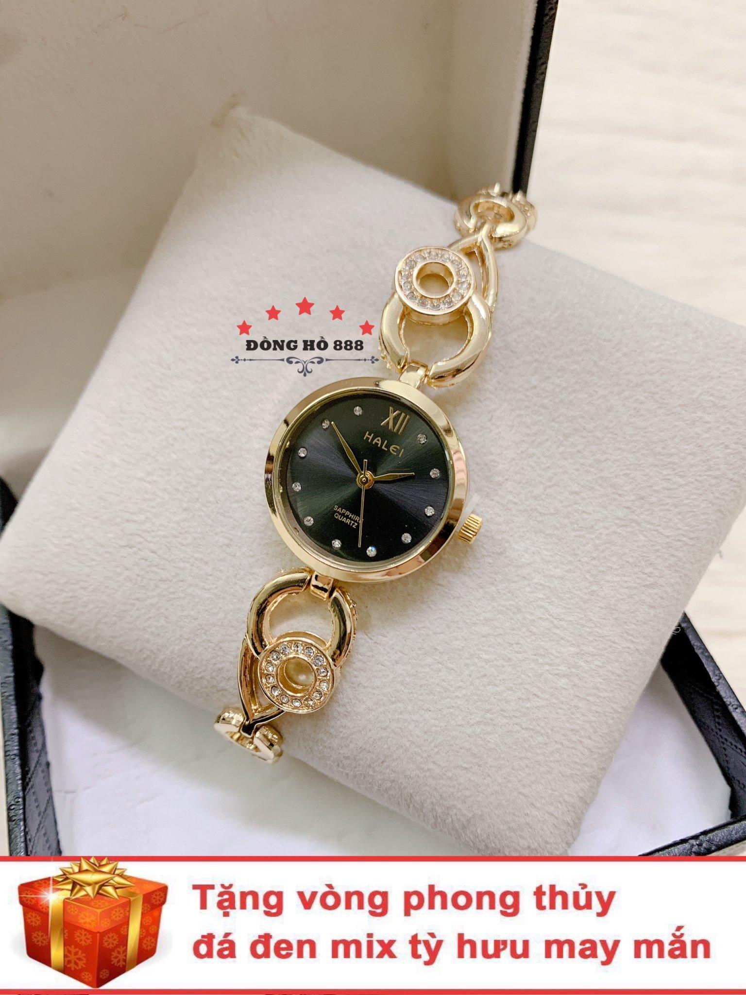 Đồng hồ nữ HALEI dây lắc thời thượng ( Dây vàng mặt đen ) - TẶNG 1 vòng tỳ hưu phong thuỷ bán chạy