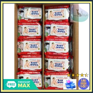 [Sale Sạch]Combo 10 Gói (Gói Lớn 80gr) Khăn Giấy Ướt Baby Wipes Có Nắp Đậy An Toàn, Cao Cấp thumbnail