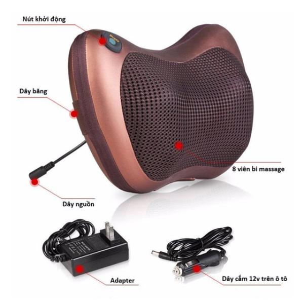 LOẠI TỐT Gối massage hồng ngoại 8 bi thiết kế gọn nhẹ, gối massage toàn thân 2 chiều dễ sử dụng - Tặng Cáp cho Ôto - Bảo hành 1 đổi 1