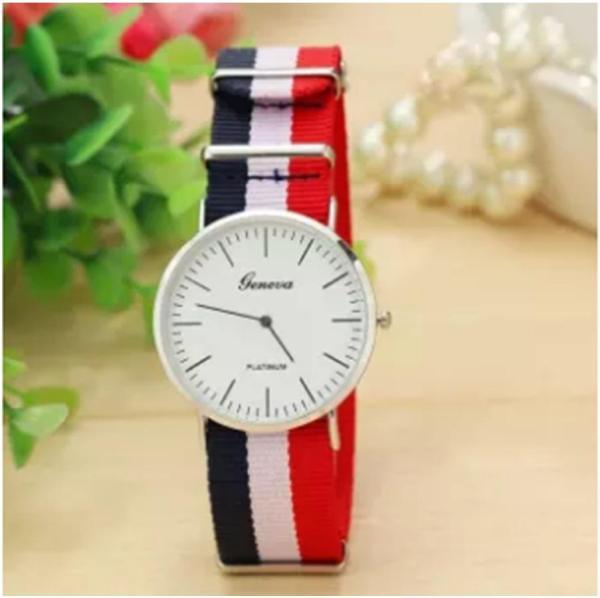 Đồng hồ nam dây vải 3 sọc trắng-đỏ-xanh