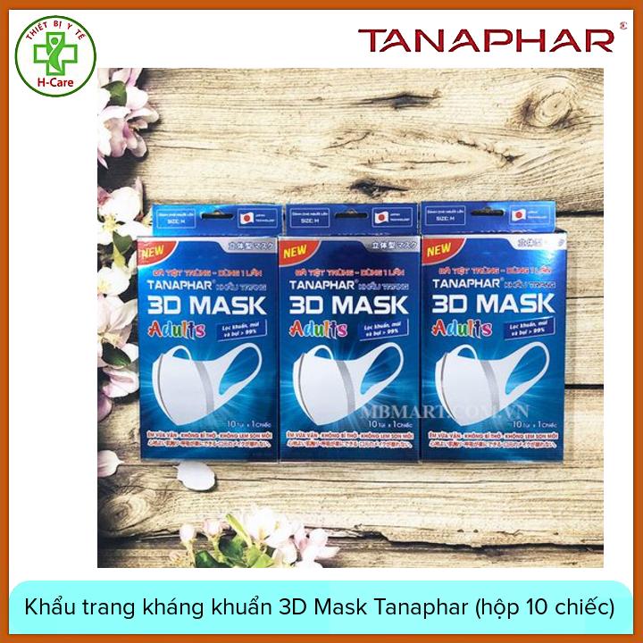 Khẩu trang kháng khuẩn chống bụi 3D Mask Tanaphar cho người lớn (hộp 10 chiếc) , có cấu trúc đa lớp giúp ngăn khói, bụi, phấn hoa, vi khuẩn xâm nhập phòng chống các dịch bệnh nguy hiểm lây qua đường hô hấp [TBYT H-Care]