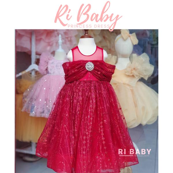 Nơi bán Đầm cho bé gái 5 tuổi - Váy công chúa thiết kế RI84 - Đầm đỏ cho bé đi tiệc