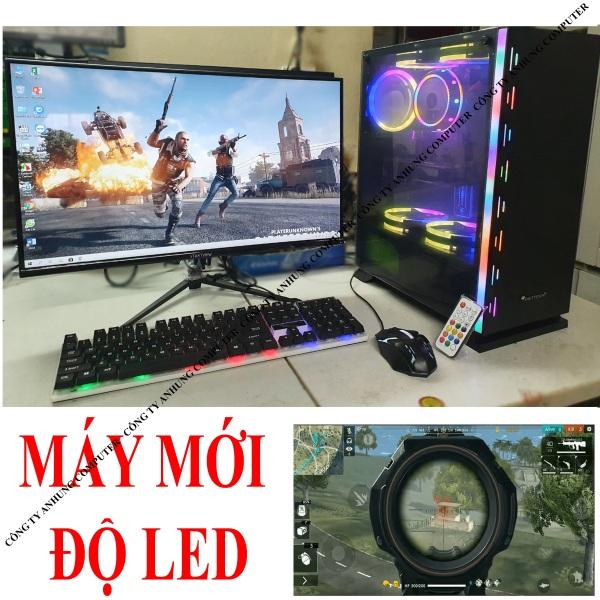 [PC ĐỘ LED] Bộ máy tính để bàn chơi game màn 24 cong mới full box cấu hình cao