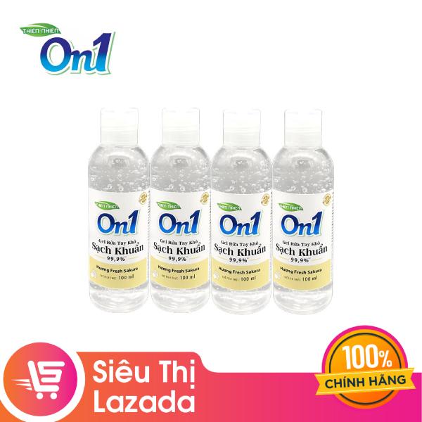 [Siêu thị Lazada] Combo 4 chai gel rửa tay khô ON1 hương Fresh Sakura 100ml, Hương thơm nhẹ nhàng dễ chịu, Có khả năng diệt khuẩn cực hiệu quả