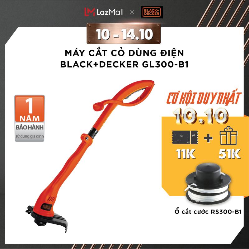 [Tặng ổ cước cắt cỏ] Máy cắt cỏ dùng điện Black+Decker GL300-B1  300W   Bảo hành 1 năm   Chính hãng