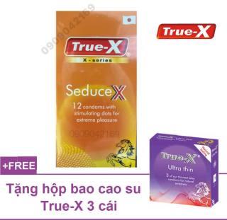 Bao cao su chấm nổi toàn thân True-x SEDUCE X siêu gai 12cai + Tặng thêm hộp siêu mỏng giữ ấm TRUE-X 3 CÁI thumbnail