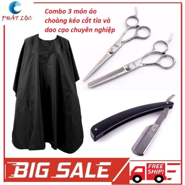 Combo 3 món áo choàng cắt tóc chuyên nghiệp và bộ 2 kéo cắt tỉa tóc đa năng và dao cạo cao cấp nhập khẩu