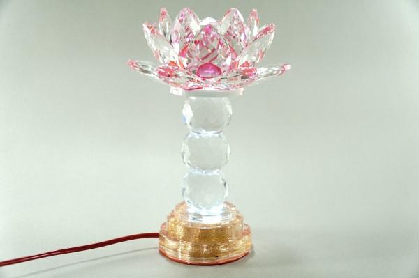 Đèn thờ Phật điện pha lê nguyên khối hoa sen đèn thờ led đổi màu trụ tròn tầng cao cấp - Cao 20cm