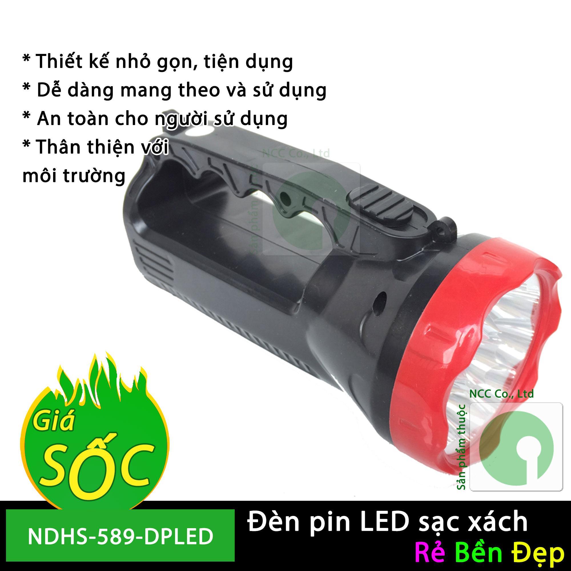 Giảm 43 %】 Đèn pin 9 bóng LED sạc xách tay - NDHS-589-DPLED (Đen)
