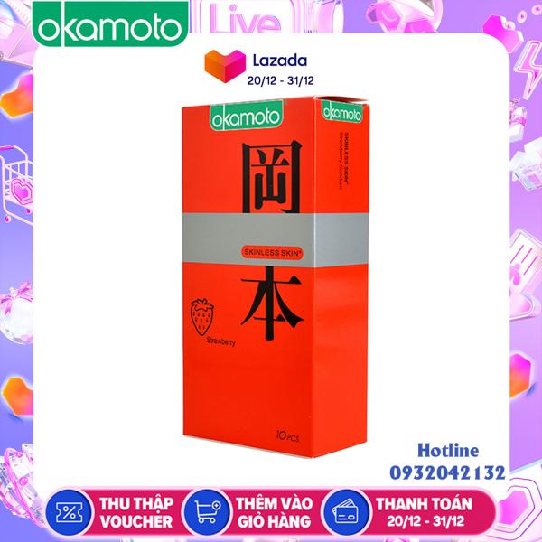 Bao Cao Su Okamoto Skinless Skin Strawberry Hương Dâu Hộp 10 Cái cao cấp