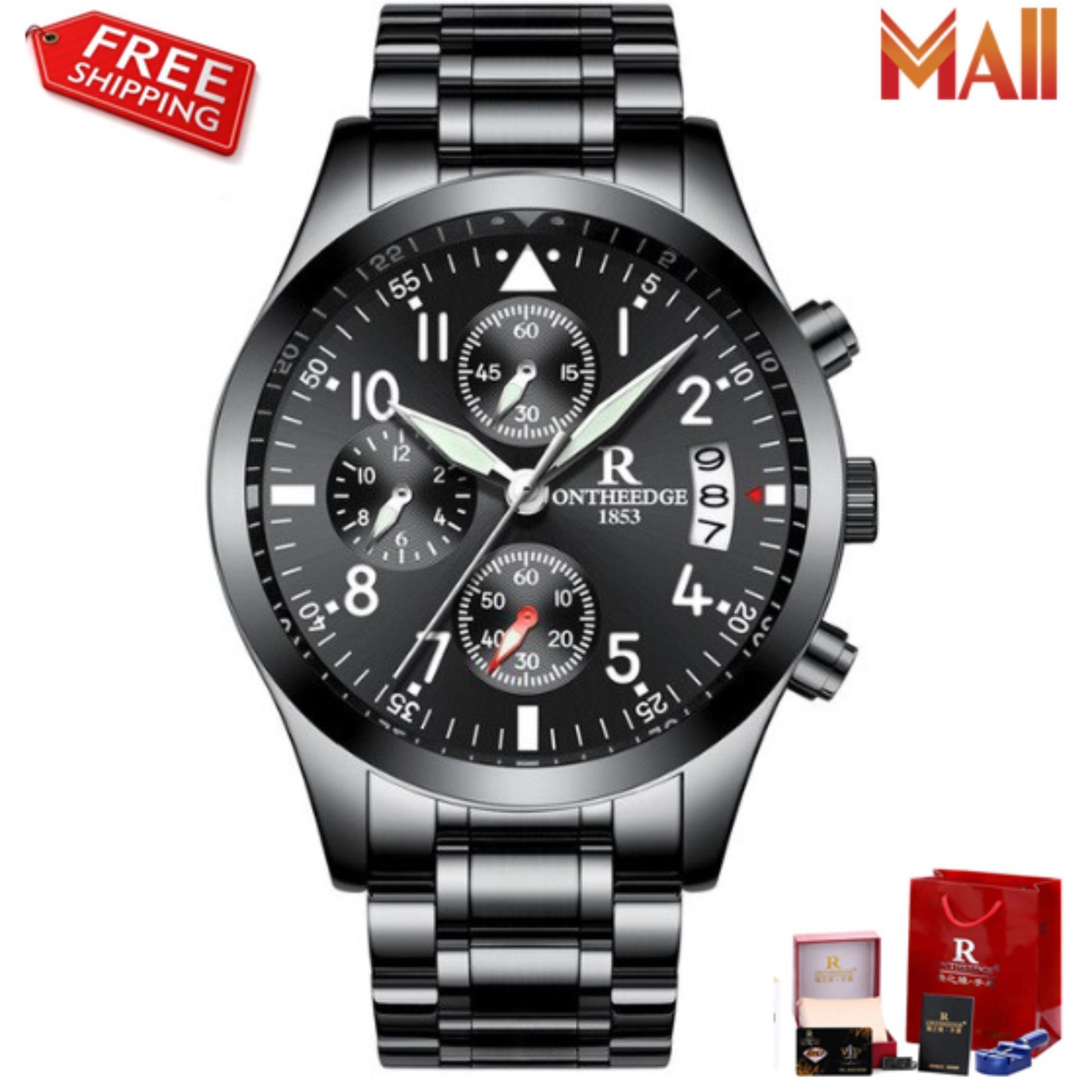 Đồng hồ nam dây thép đặc không gỉ Ontheedge 028 (fullbox) bán chạy