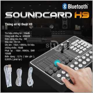 Mua Sound Card Thu Âm Live Stream H9 Kết Nối Bluetooth Đẳng Cấp, Sound Card 2021 Cao Cấp Chuyên Dùng Hát Karaoke, Live Stream, Thu Âm Được Trang Bị Tính Năng Bluetooth, Auto-Tune, Giả Giọng, Pin Sạc, Âm Thanh Cực Chất.