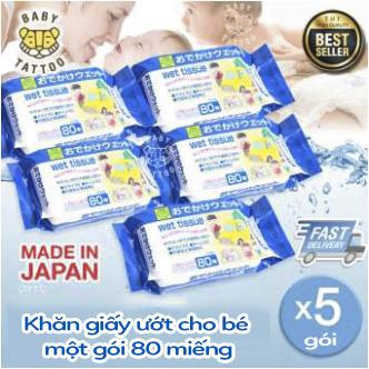BABY TATTOO Combo 5 bịch Khăn giấy ướt mềm Nhật Bản 80 tờ cho trẻ sơ sinh 【MADE IN JAPAN】cho trẻ nhỏ người lớn cả gia đình thích hợp vệ sinh tay và mông bé
