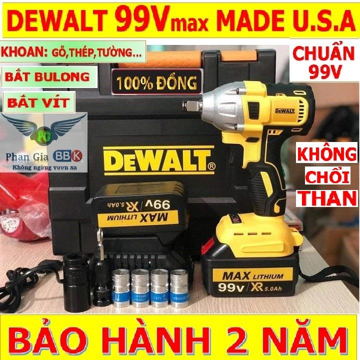 Máy Siết Bulong và Bắt Vít không chổi than DEWALT 99V Made in U.S.A