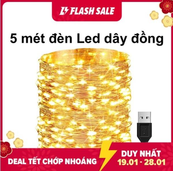 Bảng giá 5m Dây Đèn Led Trang Trí, Đèn Led Dây Đồng Không Chớp Nháy Fairy Light / Đèn đom đóm sử dụng nguồn điện 5v USB trang trí giáng sinh noel, năm mới, sinh nhật