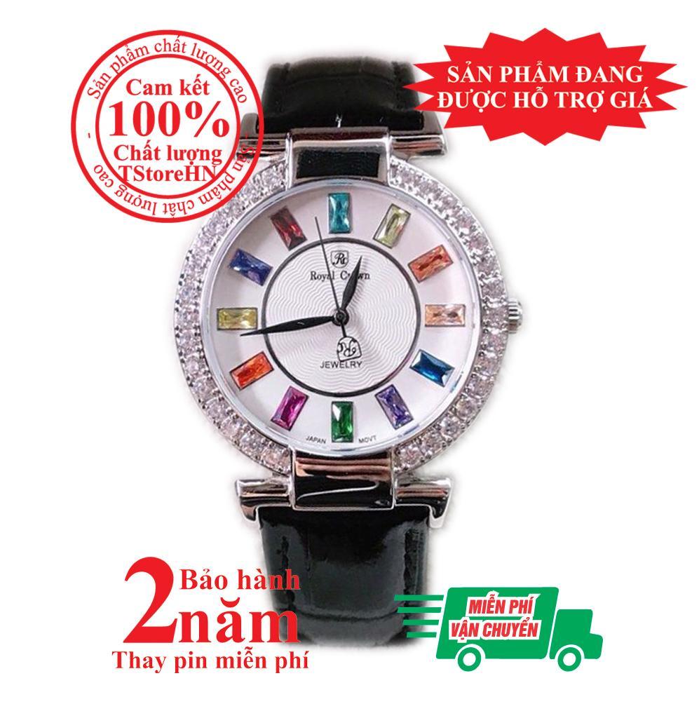 Đồng hồ nữ Royal Crown mặt đính đá 7 màu- vỏ Trắng (Silver), dây da màu Đen (Black), size 36mm- Model no: RC07014 bán chạy