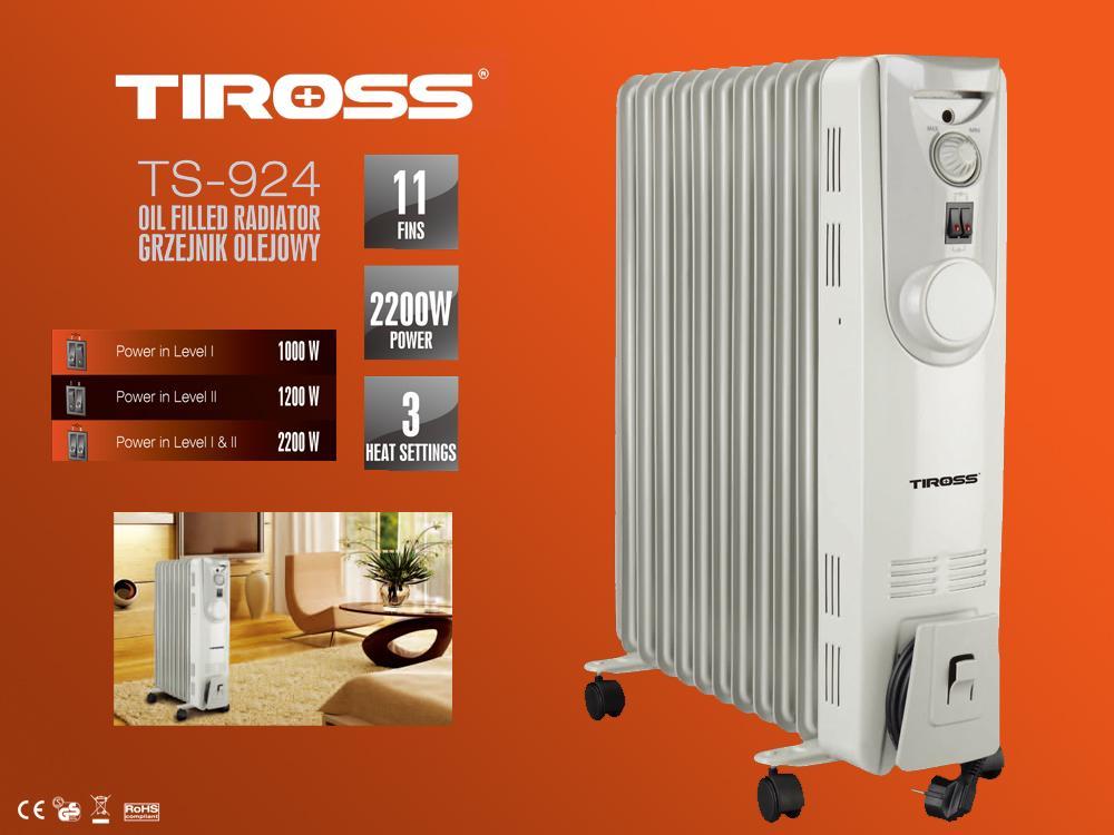 Máy sưởi dầu 11 thanh Tiross TS924 2200W (Trắng)