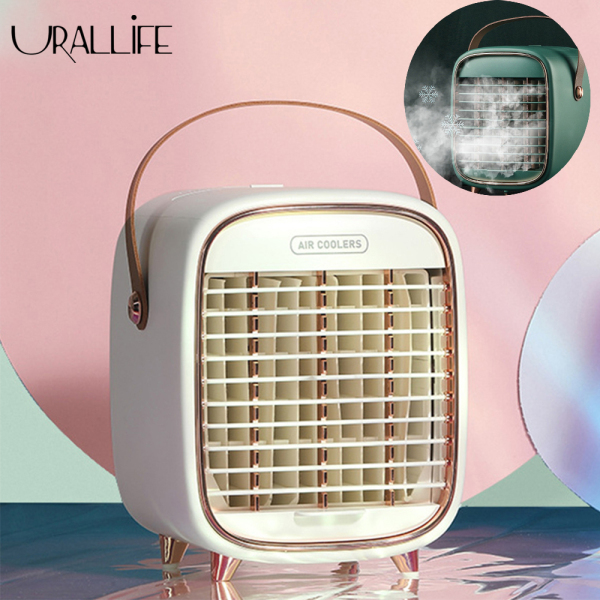 Urallife Qualitell Mini Desktop Air Conditioning Fan Ice Fog Fan Portable 3 Gears Adjustable Rechargeable Mute Cooling Fan Cooler Air Cooling Fan Humidifier With Adjustable Air Outlet For Summer