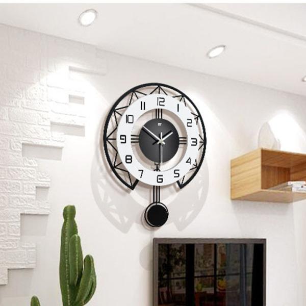 Nơi bán đồng hồ treo tường - đồng hồ treo tường trang trí, phong cách Bắc Âu hiện đại đơn giãn, quả lắc chuyển động, kim trôi yên tĩnh