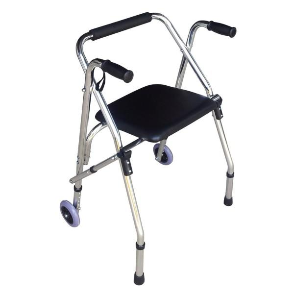Khung tập đi LUCASS W9 - Dùng cho bệnh nhân phục hồi chức năng đi lại - Khung nhôm có ghế ngồi bọc da cho người già,