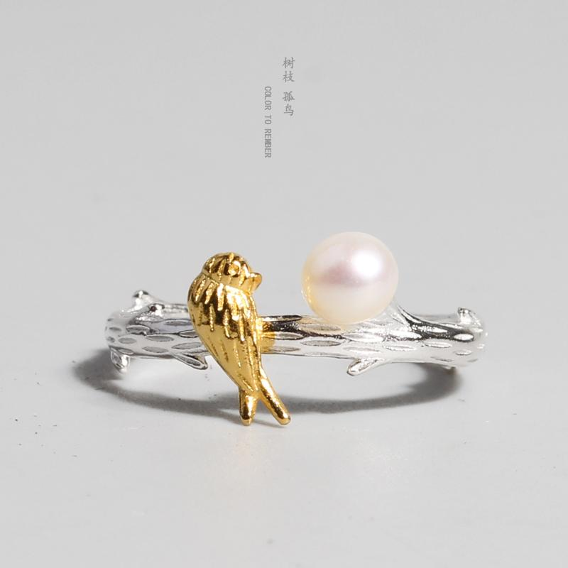 Kiểu Hàn Quốc 925 Sterling Silver Chim Nhẫn Nữ Mốt Thời Thượng Tự Nhiên Ngọc Trai Hở Lỗ Vòng Tao Nhã Tươi Đuôi Thực Phẩm Nhẫn