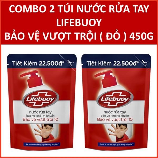 COMBO 2 túi Nước rửa tay Lifebuoy Bảo vệ vượt trội 10 (Đỏ) 450gX2