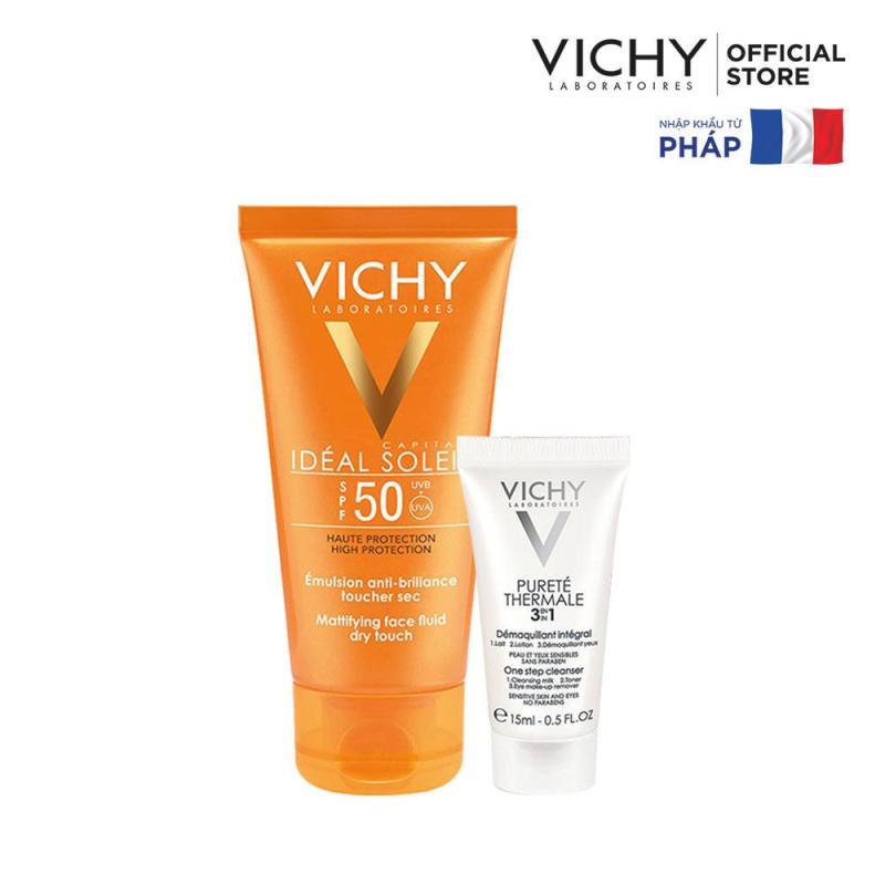 Bộ kem chống nắng không gây nhờn rít Vichy Ideal Soleil Dry touch 50ml & Sữa rửa mặt tẩy trang 3in1 15ml nhập khẩu