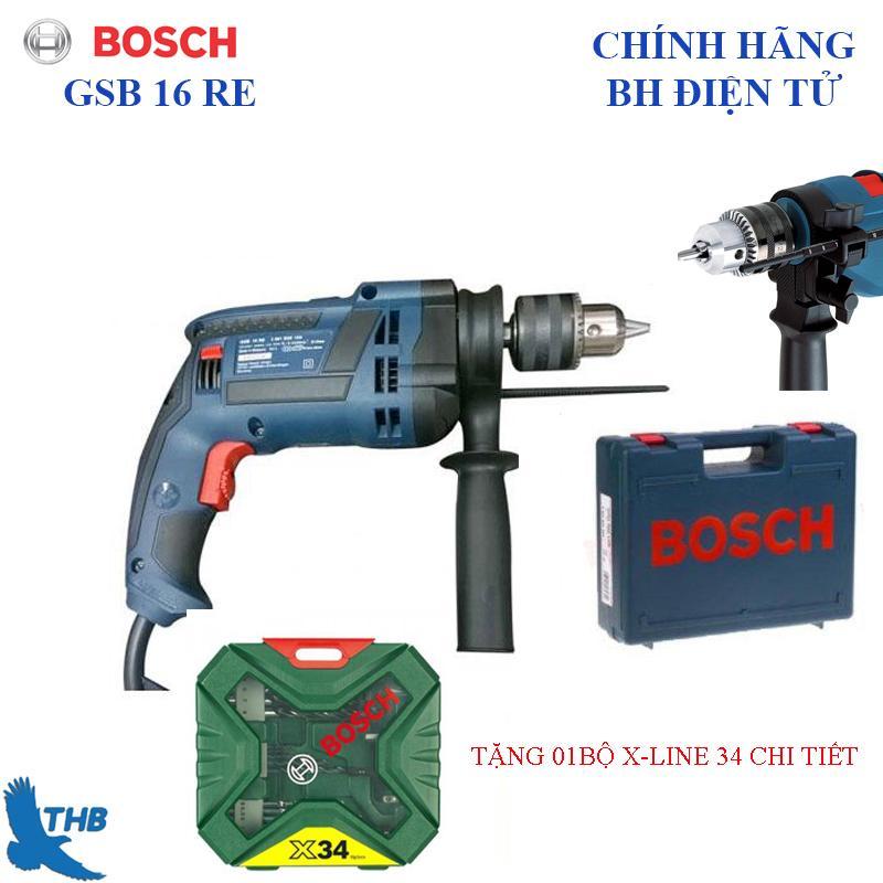 Máy khoan động lực Bosch GSB 16 RE cải tiển có Kèm hộp nhựa tặng bộ X-line 34 chi tiết