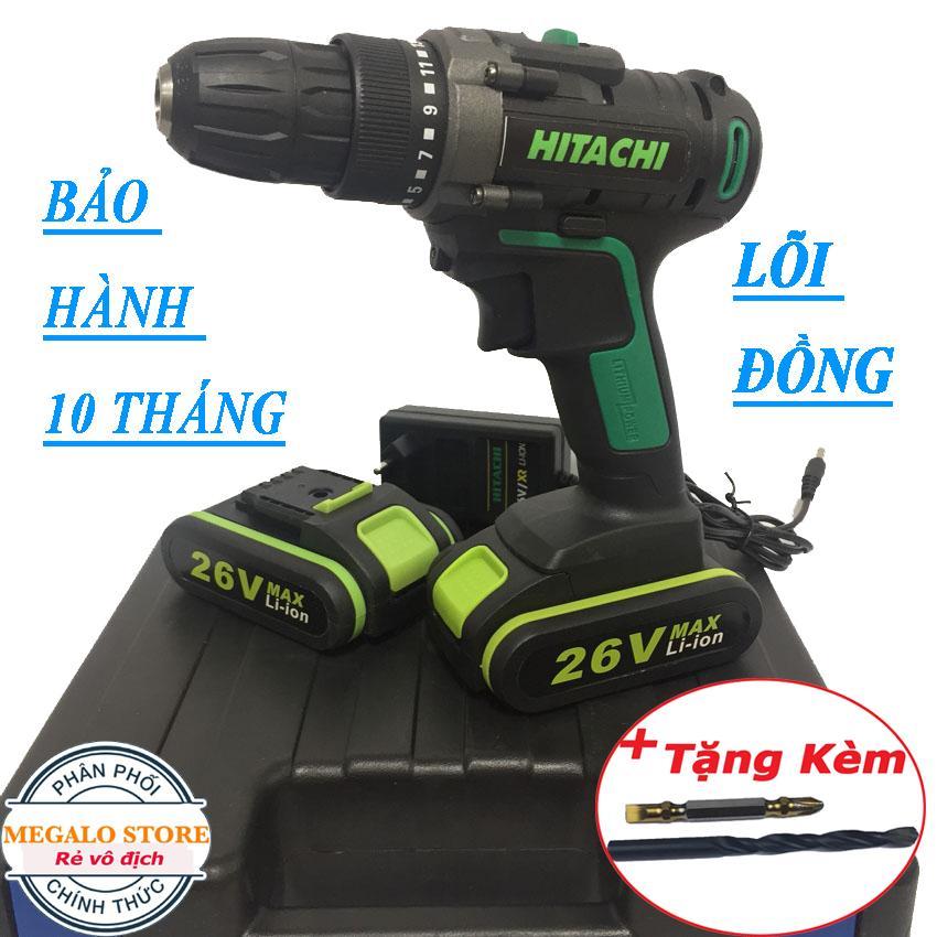 Máy khoan Pin Hitachi 26V. Lõi Đồng, Tặng Mũi Khoan + Mũi Vít