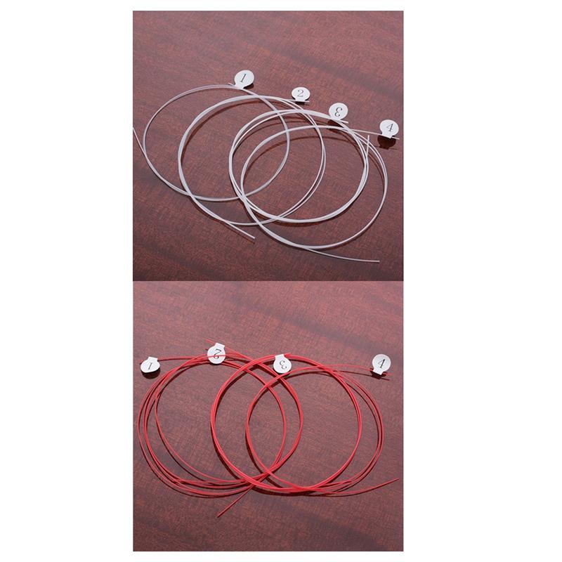 8 Piece Longteam Ukulele Carbon Strings Fluorocarbon Fiber Strings for 21/ 23/ 26 Inches of Guitar Ukulele Part Red & White