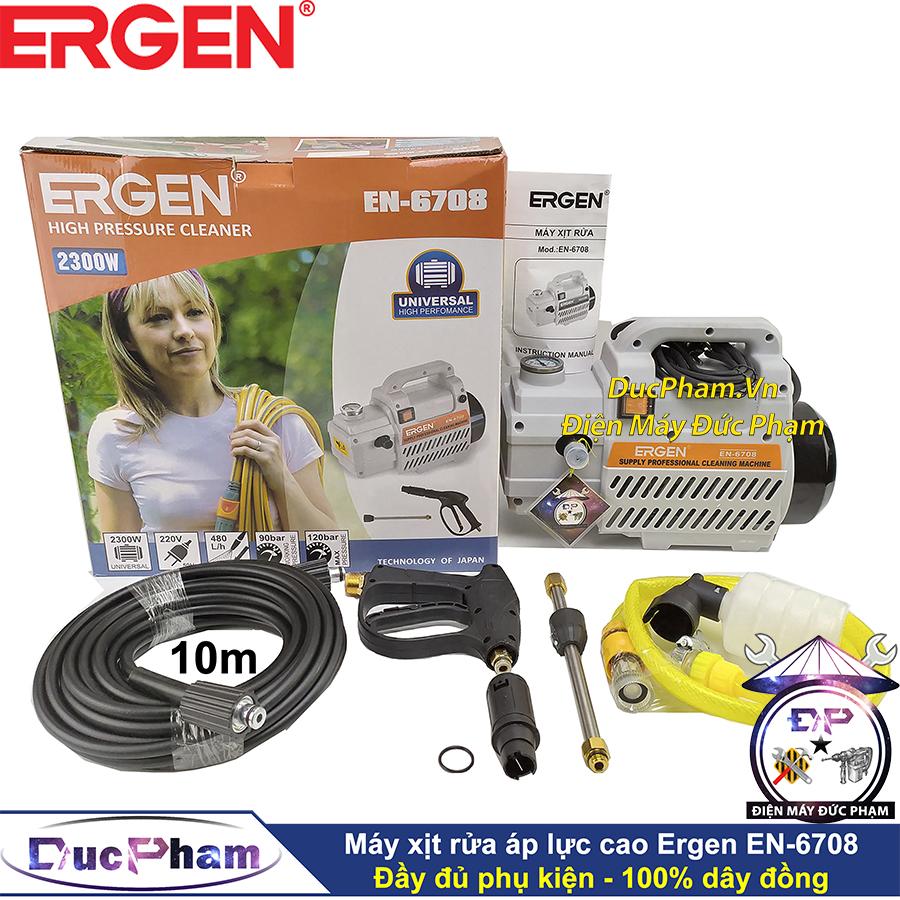 Máy bơm xịt rửa xe áp lực cao Ergen 6708 công suất 2300W, moto từ, hoạt động êm và khỏe