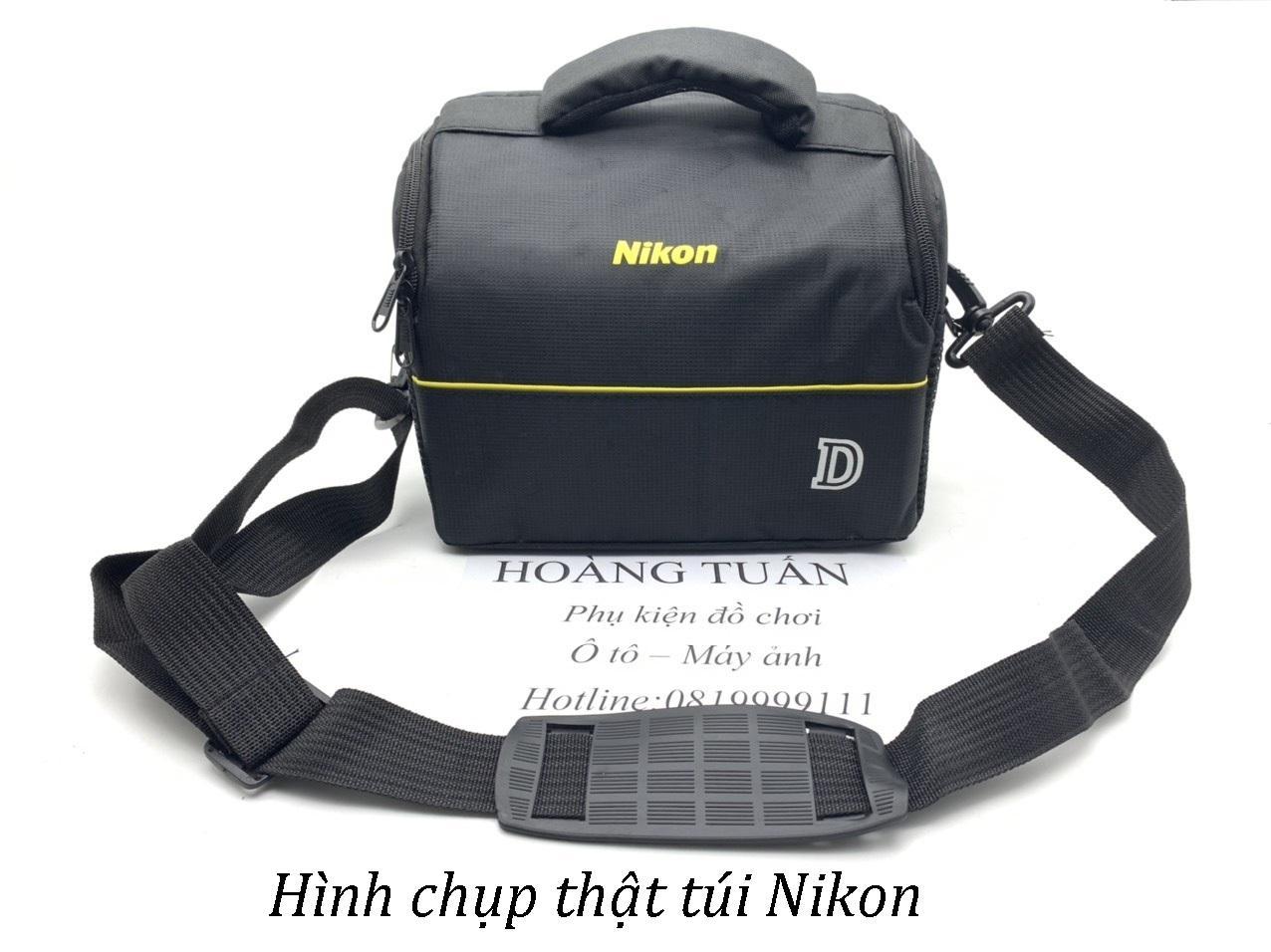 Giá Túi chống sốc máy ảnh DSLR ngang đeo hông Canon Nikon trơn loại 1 có ngăn phụ vách dầy
