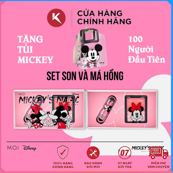 Set Son Môi Dưỡng Có Màu và Phấn Má Hồng Son Phấn Má Hồ Ngọc Hà Mỹ Phẩm M.O.I Phien Bản Chuột Mickey nhập khẩu