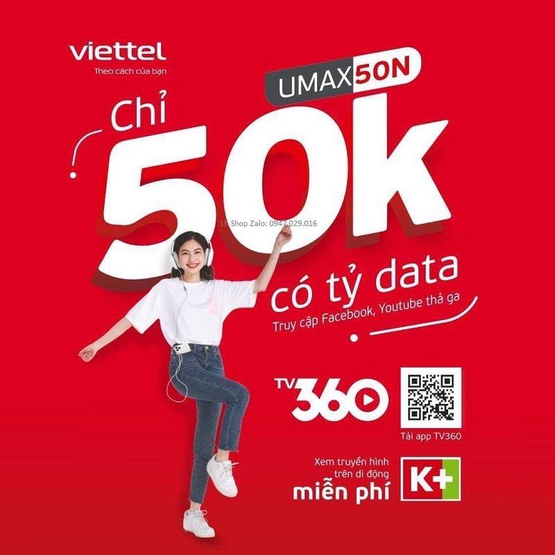 Sim viettel 4g umax50n không giới hạn lưu lượng data chỉ 50k 1 tháng