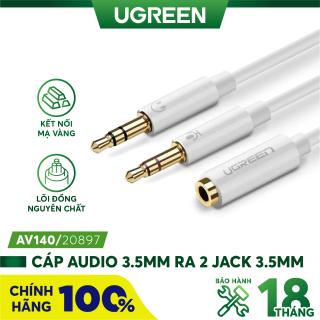 Dây Audio chuyển tai nghe 3.5mm đầu cái sang 2 đầu Mic và Tai nghe đầu đực mạ vàng dài 20CM UGREEN AV140 - Hãng phân phối chính thức thumbnail