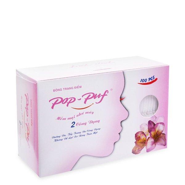 Bông tẩy trang Pop-puf cotton pads (100 miếng ) 2 công dụng trang điểm và tẩy trang