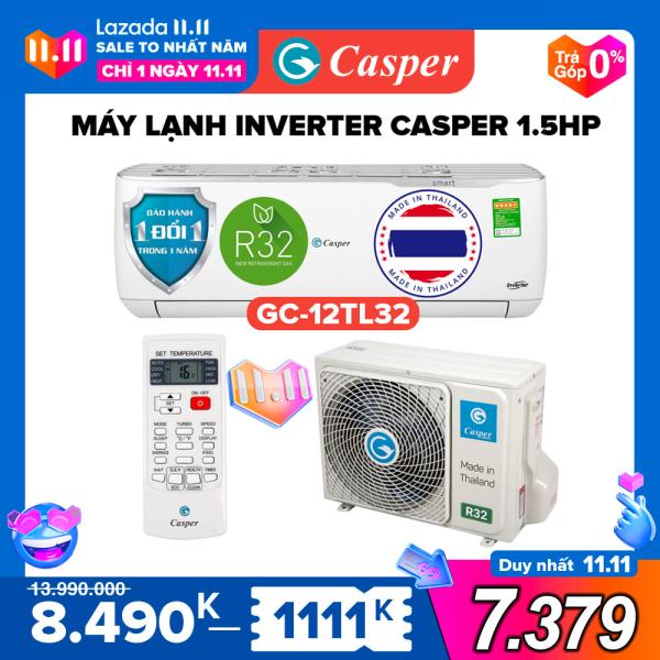 Máy Lạnh Inverter Casper 1.5HP - Model GC-12TL32 Dưới 20m2, Công Suất 12000BTU, Gas R32, Đổi mới 1 năm, Nhập khẩu Thái Lan, Máy Lạnh Giá Rẻ Chất Lượng - Bảo Hành 3 Năm