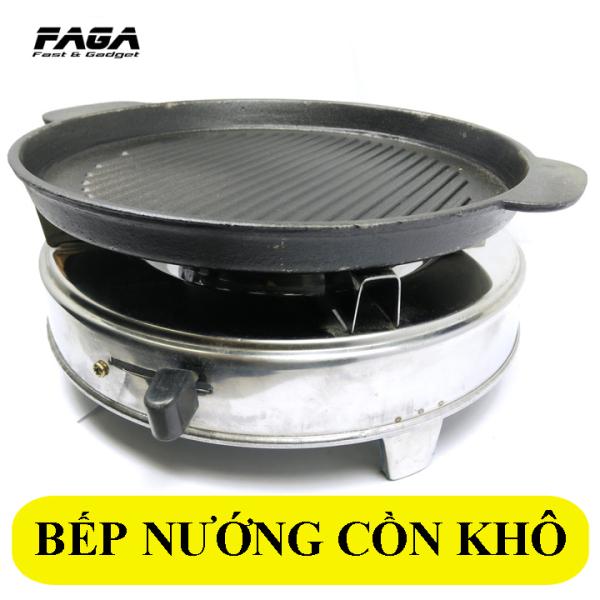 Combo Bếp Cồn Inox - Chảo Nướng Gang Tặng cồn khô cao cấp