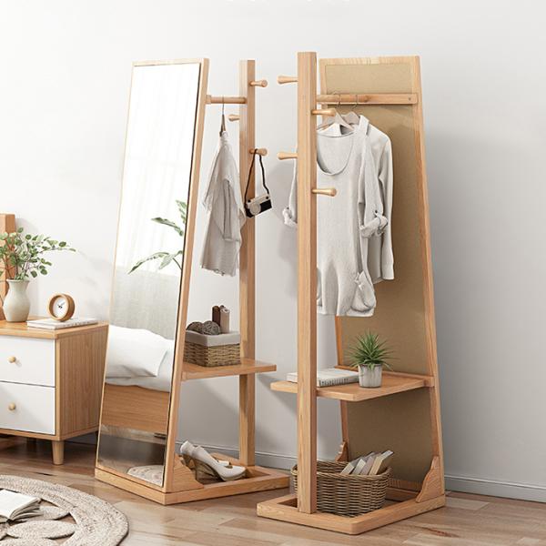 Gương phòng ngủ kết hợp giá móc treo đồ Bắc Âu