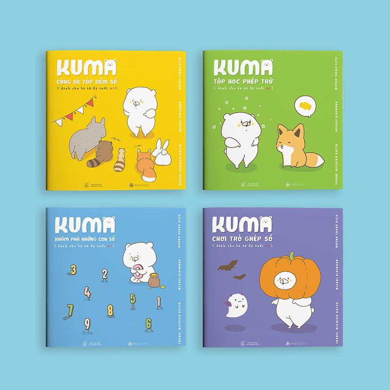 Mua Sách ehon Nhật Bản: Bộ 4 cuốn Kuma làm quen với môn Toán