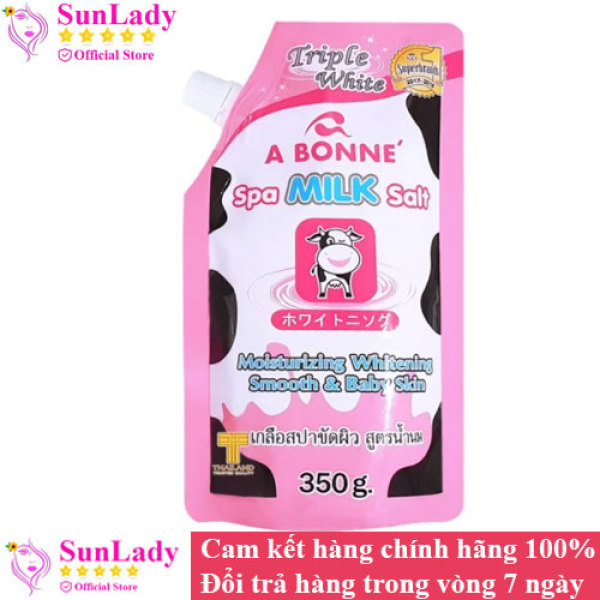 Muối tắm sữa bò tẩy tế bào chết A Bonne Spa Milk Salt 350gr - Muoi tam ngăn ngừa mụn lưng, viêm nang lông abone