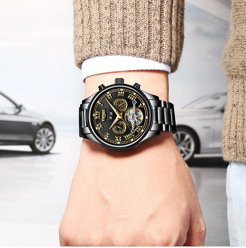Đồng hồ Kinyued cơ doanh nhân thời trang, cao cấp,sang trọng chạy full kim (lLa mã dây Đen) bán chạy