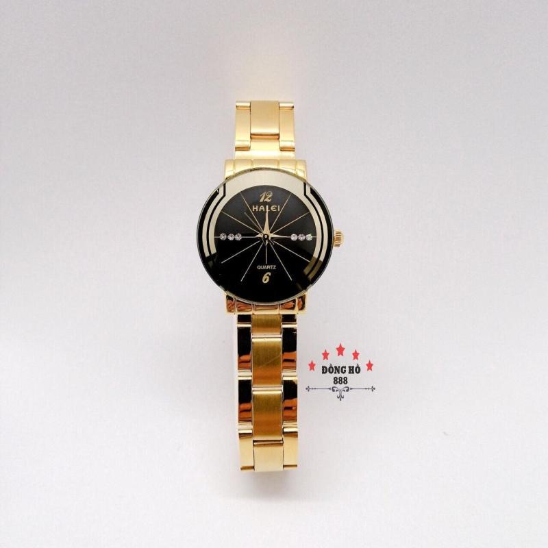 Đồng hồ nữ HALEI dây kim loại thời thượng ( HL457 dây vàng mặt đen ) - Kính Chống Xước, Chống Nước Tuyệt Đối, Mạ PVD Cao Cấp Chống Gỉ Chống Phai Màu Thời Trang Hottrend 2020