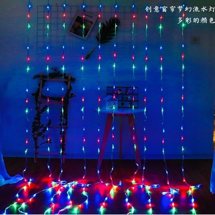 Bảng giá (Chọn Màu) Hiệu Ứng Rèm Đèn Led Mưa Rơi Ngang 3M Thả Xuống 2.2M 10 Sợi Đèn Led Fairy Light Trang Trí Tiệc Sân Vườn Noel Lễ Tết