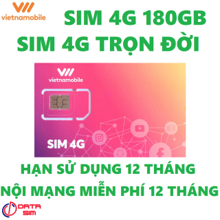 Sim 4G 180GB vietnamobile trọn đời có hạn sử dụng 12 tháng thumbnail