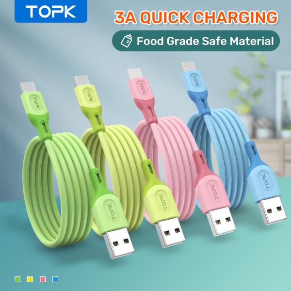 TOPK Cáp sạc AN84 Type-C chất liệu silicone dành cho iPhone 11 Pro Max Samsung S20 Xiaomi OPPO Vivo HUAWEI - Giới hạn 1 sản phẩm/khách hàng