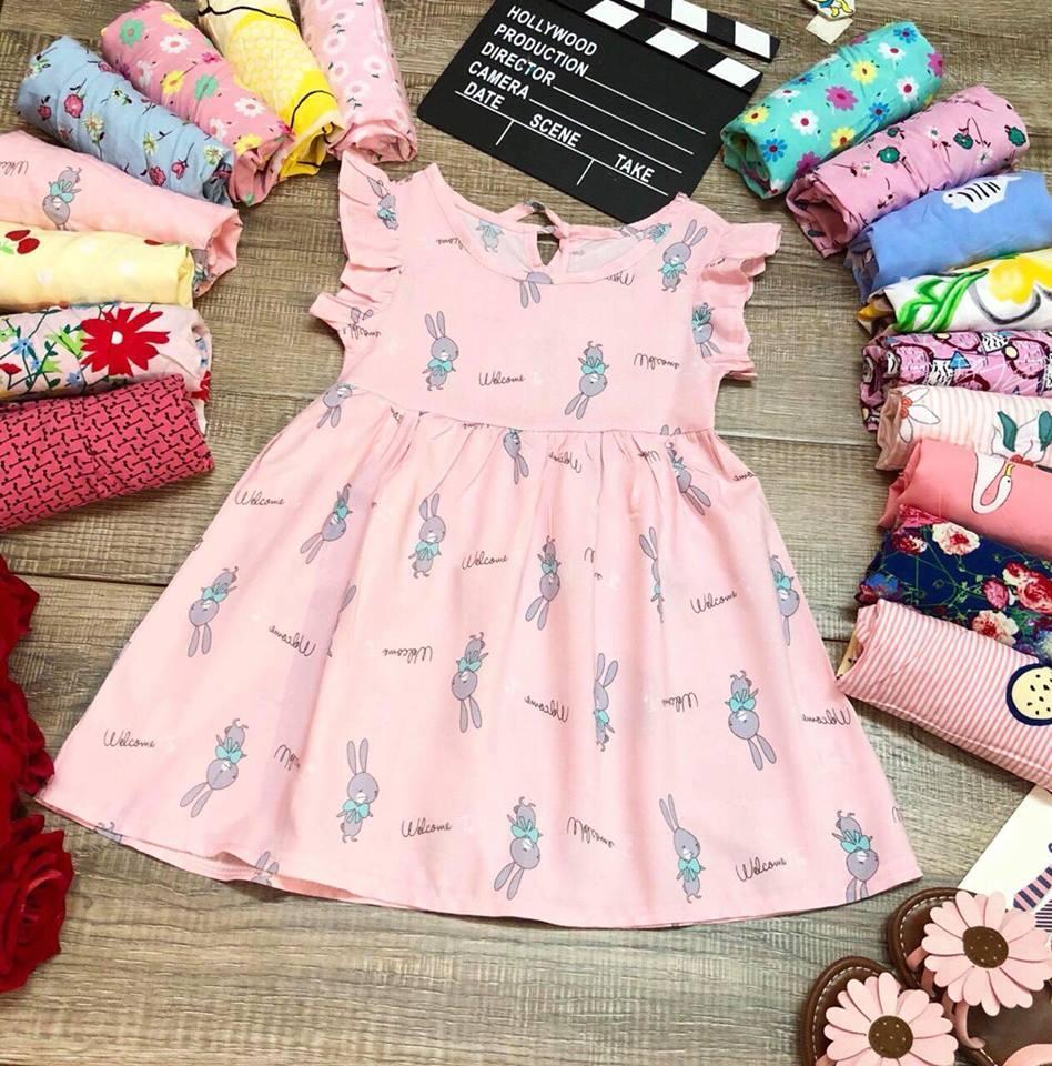 Váy Lanh Chất Mát Hình Hoa Dáng Ngắn