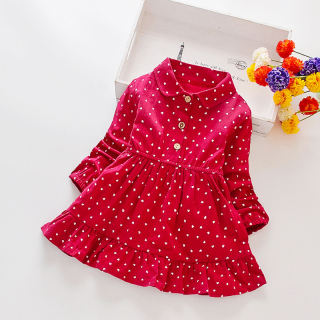 Đầm Bé Gái 1-8T Đầm Dài Tay In Chấm Bi Đầm Xòe Công Chúa Cho Trẻ Tập Đi