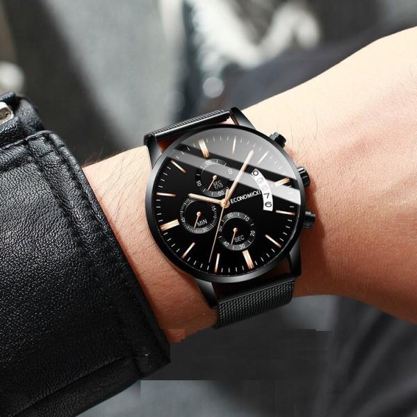 Đồng hồ nam ECONOMICXI dây thép lụa đen có lịch ngày cao cấp DIZR (dây vàng)